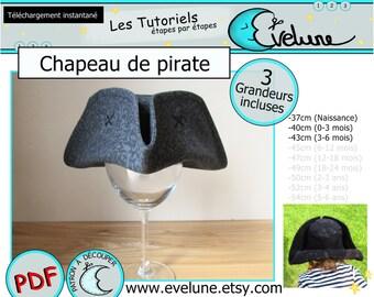 Chapeau de Pirate PDF , Français , 3 grandeur incluses , chapeau tricorne , costume de pirate , costume halloween , jack et les pirates