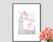 London Theme Party Print London Art Instant Download London Decor Wall Art London Black and white London Poster Pink Baloons
