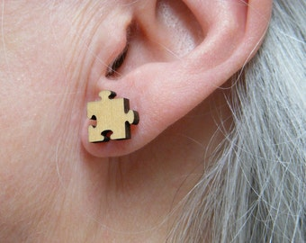 Jigsaw piece earring made in my own UK workshop from natural wood