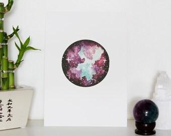 Purple & Turquoise Nebula Art Print - A5 Size