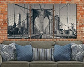 New York Brooklyn Bridge Canvas Wall Art, Black and White New York Photo, New York Art, New York City, Large Canvas, New York Bridge, Poster