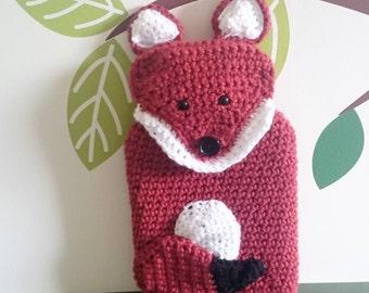 Fox hot water bottle cover **Crochet pattern only**