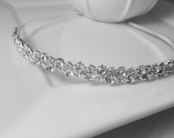 Genuine Crystal Rhinestone Silver Plated 'Emily' Wedding Bridal Headband for Bride, Bridesmaids or Prom