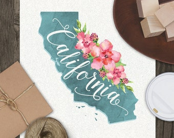California State Typography Watercolor Art Print // Home Apartment Wall Decor // Downloadable Printable