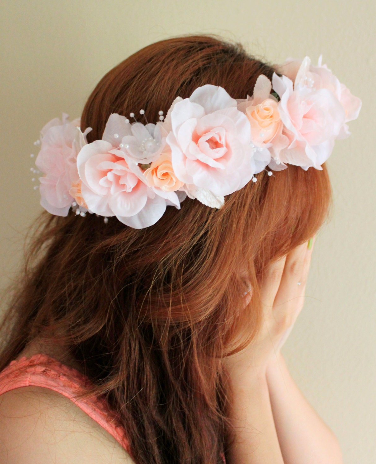 Pink flower crown orange flower crown bridal flower crown floral pink flower crown orange flower crown bridal flower crown floral wedding hair accessories flower girl headband coachella hair accessory on the hunt izmirmasajfo
