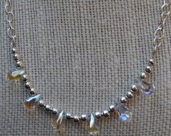 Crystal and Bead Necklace, Tear Drop Crystal Necklace, Crystal Necklace, Silver Necklace