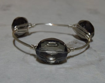 Gray Crystal Bangle Bracelet, Gray Crystal Bangle, Gray Crystal Bracelet, Gray Bangle, Crystal Bangle, Gray Bracelet, Crystal Bangle