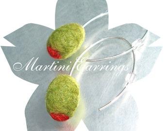 Funny stuffed pimento olive earrings. Felted wool. 100% Merino. Sterling silver