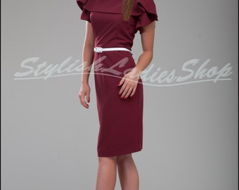 Evening Pencil Dress Burgundy Knee Length Sleeveless Dress Cute Spring Dress Marsala with a Frill.