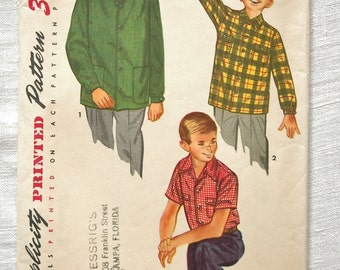 Vintage shirt pattern, Simplicity 4100, boy's shirt, size 34 inch chest, 1952