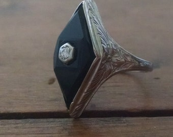 Art Deco Onyx Ring Etsy
