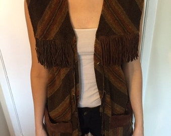 1970's small Long Fringe Vest by Pioneer Wear size small