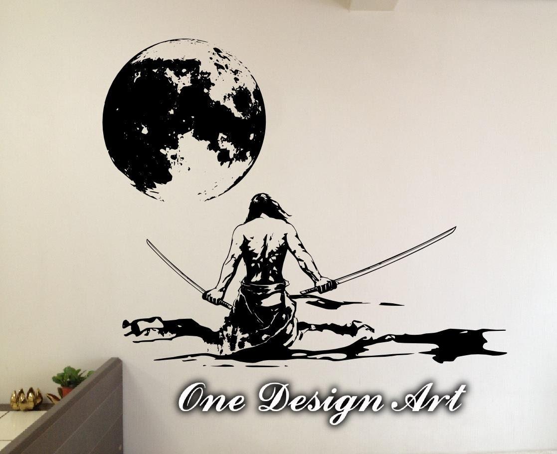 Samurai Champloo Vinyllbum The Way Of Sticker X Warrior Under Full Moon Home Decor Wall Mural Arts