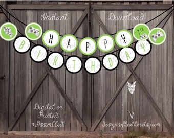 Video Game Digital Happy Birthday Banner