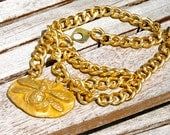 Golden Bee Chunky Chain Bib Necklace, yellow, gold, bee, bees, large chain, trending, Christmas, statement, large, big, handmade, clay