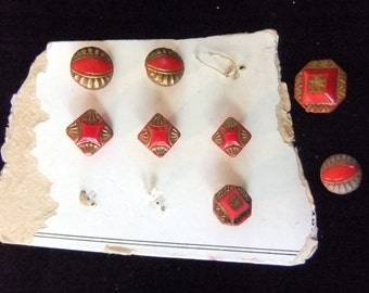 Vintage Czech Red and Gold Glass Buttons, Salesman's Card