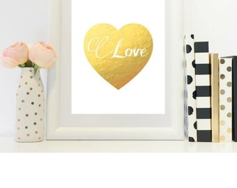 Gold and White Heart with Love