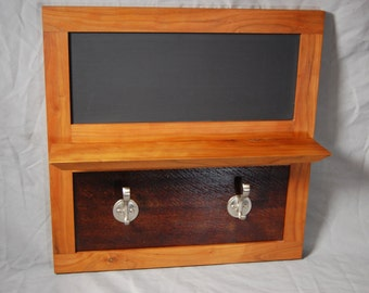Cherry Entry Shelf with Coat Hooks and Magnetic Chalkboard