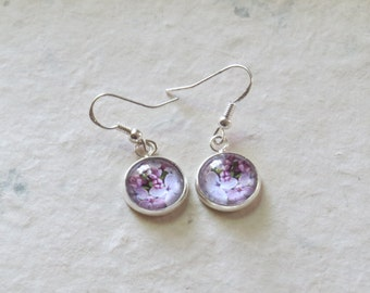 Lilac Earrings - 12mm Round Dangle Earrings, Purple Lilac - Flower Jewelry