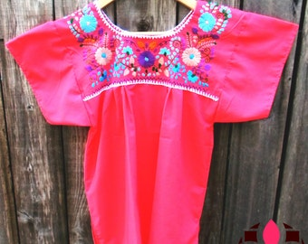 Authentic emboidered Mexican Blouse, Puebla - Pink -  M
