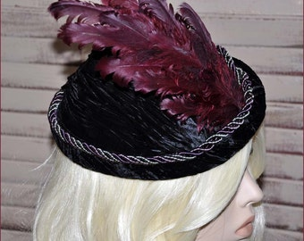 Black Velvet Pillbox, Velvet Toque, Tilt Hat, Vintage Tilt Hat, Toque Hat, Burgundy Feathers, Tapestry Hat, Braided Cord, Black Hat