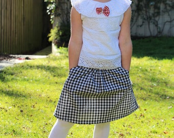 SALE SALE SALE Charlotte- Girls 'Weekender' Skirt- Black and White Gingham Checks with Pockets