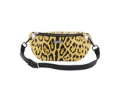 Leather waist bag, hip bag, leopard leather fanny pack, leather bum bag