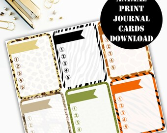 Animal Print Journaling Card Printable / Journal Cards / Scrapbook Kit / Journaling List / Listers Gotta List / Instant Download 00075