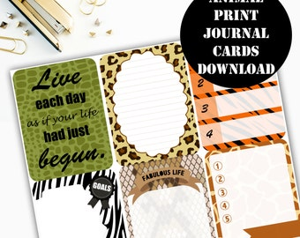 Animal Print Journaling Card Printable / Journal Cards / Scrapbook Kit / Journaling List / Listers Gotta List / Instant Download 00078