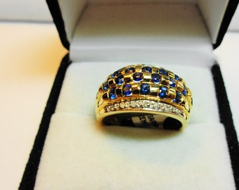 Sapphire Ring. Natural Sapphire & Diamonds in 14 Karat Gold Ring with Comfort Back.