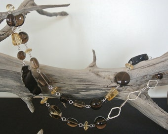 Agate, Smokey Quartz, Citrine & Silver Necklace