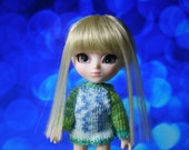 Sweater Little Pullip Dal Obitsu 11 green n blue Tiny Button