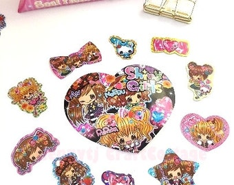 Glitter Flake Sticker Sacks. Cute Kawaii Girls Daily Diary Deco Stickers. For Filofax KIKKI.K Erin Condren Life Planner decorations.