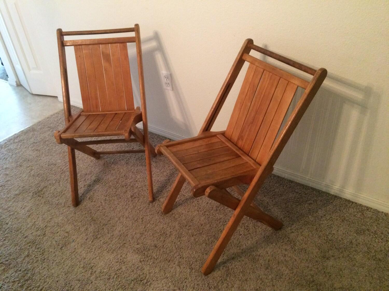 Pair of Mid Century Wood Folding Chairs Slat by AtlasMidcentury