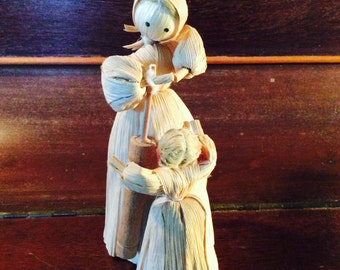 Mother & Daughter Corn Husk Doll