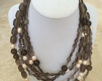 Smokey quartz multi-trand necklace with fresh water pearls