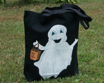 Ghost Halloween Trick or Treat Bag/Tote Hand Painted