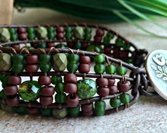 Earthy Beaded Bracelet - Leather Wrap Bracelet - Nature Jewelry - Boho Beaded Bracelet - Earthy Jewelry - Bohemian Jewelry
