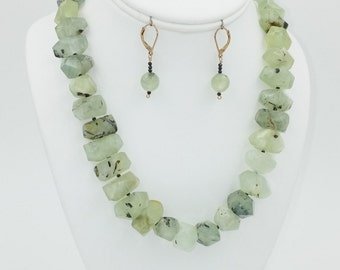 Prehnite (light green) Necklace / Earrings / Set