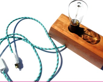Cherry Lamp With Turquoise And Brown Cord