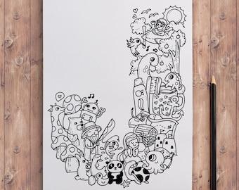"Printable Doodles coloring page - Alphabet series ""J"" (CP-A10)"