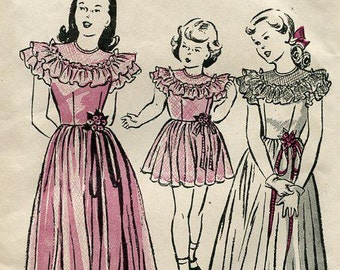 FREE US SHIP Vintage Retro 1940's 40's Girls Party Dress two Lengths Butterick 4329 Size  4 Unprinted Flower Girl