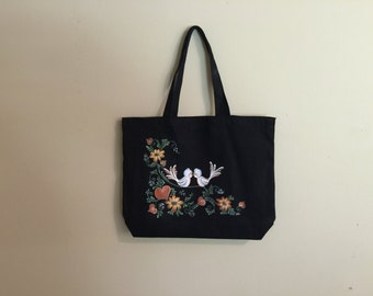 Hand painted canvas tote bag with love birds