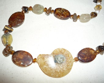 Long 36 Inch Necklace With Fabulous Real,Ammonite Fossil