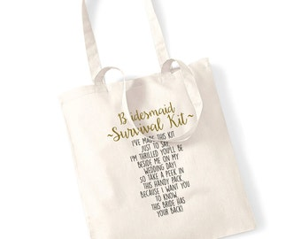 Bridesmaid survival kit tote bag gift made this kit just to say I'm thrilled cute sentimental poem wedding day bride hen do marriage 240