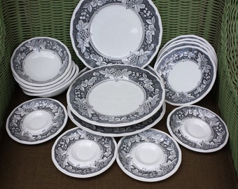 Vintage Kensington Sheffield Ironstone Dinnerware. Set Of Four Black and White Somerset 1803 Pattern. All But The Cups