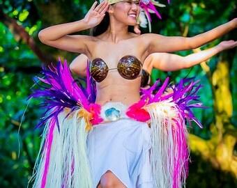 Tahitian costume hau feather hip belt