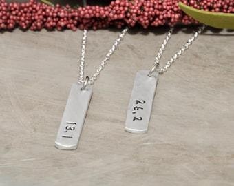 Marathon hand stamped tag necklace, half marathon runners necklace, runners necklace, tag necklace