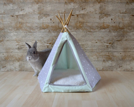 tipi tente pour lapin chaton gris menthe small avec coussin. Black Bedroom Furniture Sets. Home Design Ideas