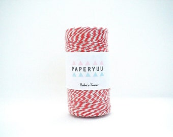 Red & White Baker's Twine · Full Spool 100m · 109yards · Packaging · Gift Tags · Crafts